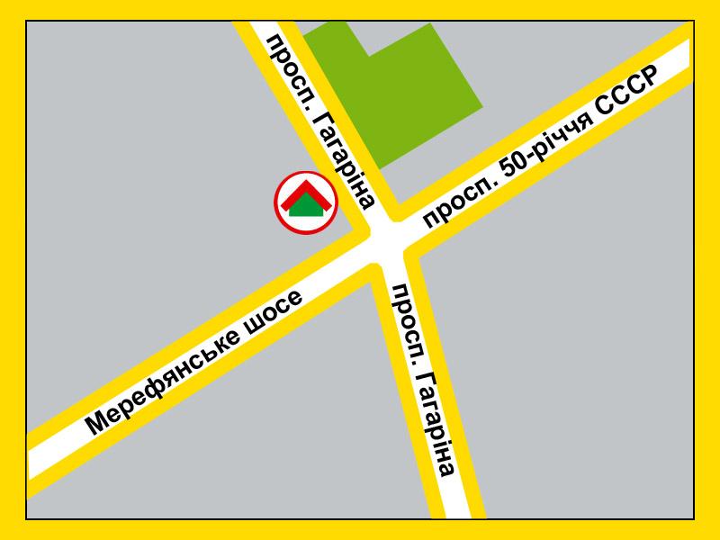 Харьков, Гагарина проспект.  Схема проезда к магазину.